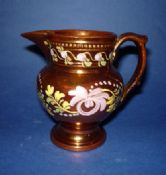 Hand Painted Staffordshire Copper Lustre Pottery Jug c1840